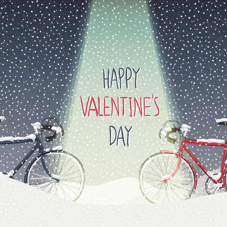 Valentines Card. Snow Covered Bicycles, Calm Winter Scene Illustration
