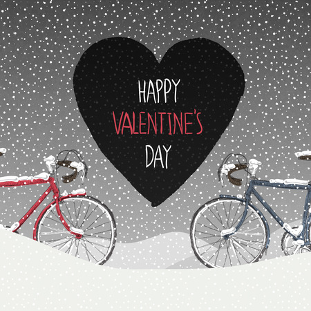 snowbank: Valentines Card. Snow Covered Bicycles, Calm Winter Scene Illustration