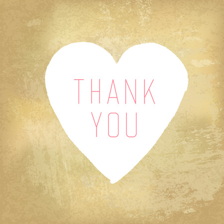 thank you very much: Thank You Card with Heart Symbol on Aged Paper Texture