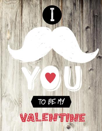 bigote: Vintage diseño de tarjeta de San Valentín Vectores