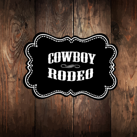 Wooden background with wild west styled label Ilustração