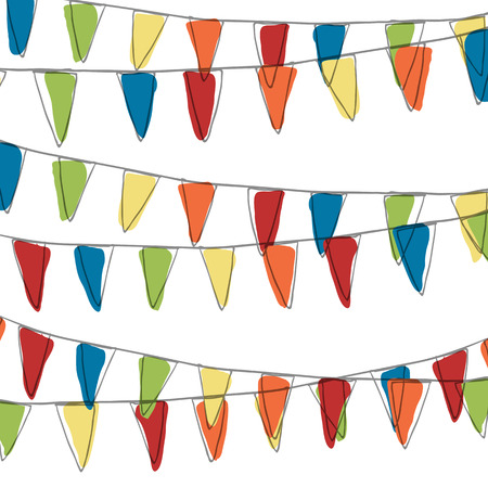 pennant bunting: Holidays Pennant Bunting Illustration (Not Seamless)