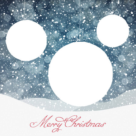 landscape scene: Christmas Ball Symbol and Falling Snow and Isolated Areas for Text