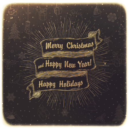 omela: Vintage Merry Christmas Card Design
