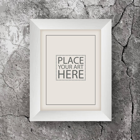 cracked wall: White Wooden Frame on Concrete Cracked Wall Illustration