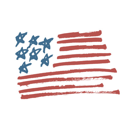 American Flag Illustration. Painted by Brush.