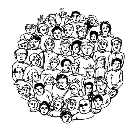 many people: Hand Drawn People Characters Unrecognizable. Circle shaped Illustration