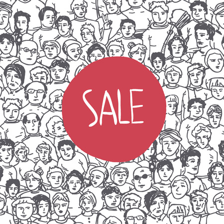 Hand Drawn People Characters Unrecognizable Seamless pattern with Sale Label Vector