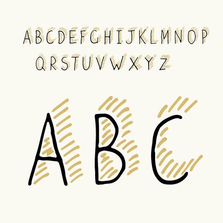 Thin Hand-drawn Hipster Shadowed Alphabet Vector