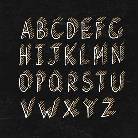 Hand-drawn Shadowed Alphabet on BlackBoard Texture Vector