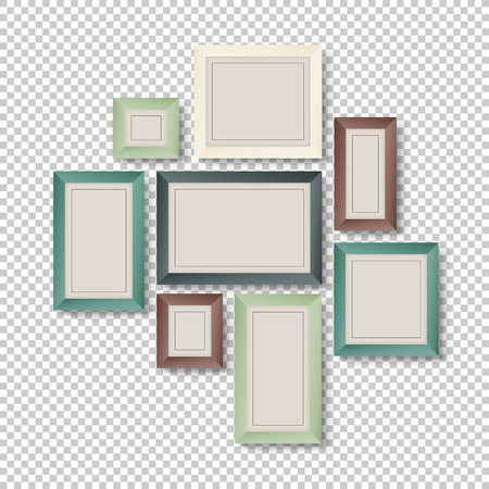 vintage photo frame: Group of Colorful Frames on Transparent Background Illustration