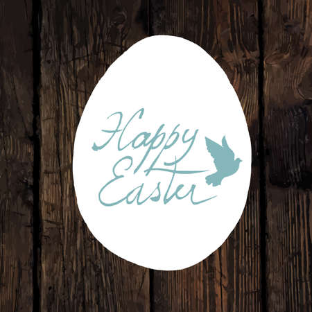 traced: Easter Calligraphy Greeting. With traced wooden texture and Dove symbol Illustration