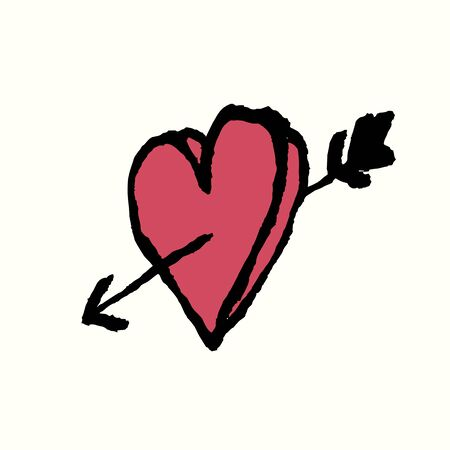 i love you heart: I love you. Heart and arrow. Hand Drawn Illustration