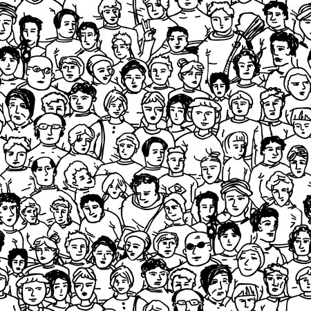 unrecognizable: Hand Drawn People Characters Unrecognizable. Seamless pattern