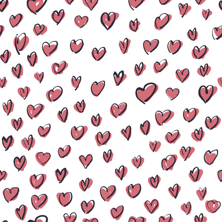 Seamless Hand Drawn Pink Hearts Pattern Vector