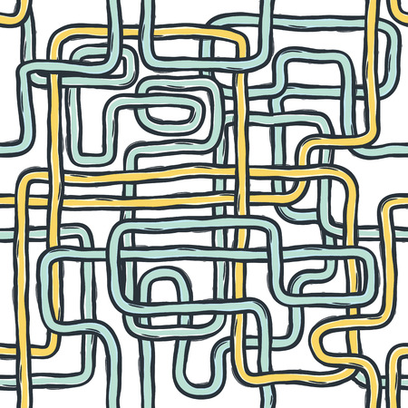 pipes: Tangled pipes. Seamless Pattern, Hand-drawn