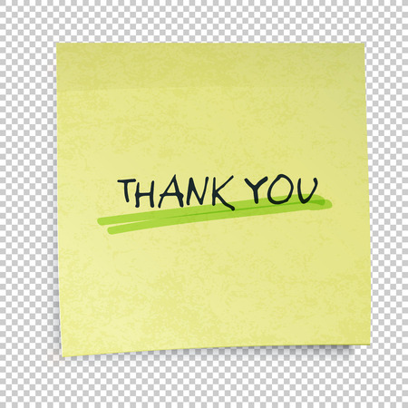 sticky notes: Yellow sticky notes with Thank You Message Illustration