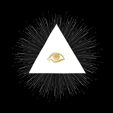 ojo de horus: All Seeing Eye en Negro Vectores