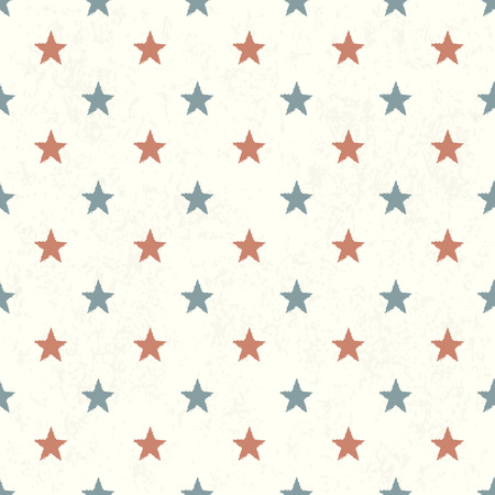 independance: Red and Blue Stars on Textured Background. Seamless Pattern.