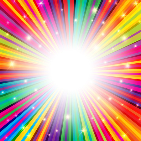 Colorful Rays Psychedelic Background with Space for Your Text in Center