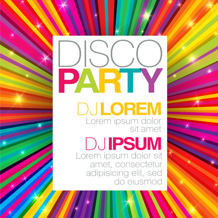 Disco poster or flyer design template on colorful rays background