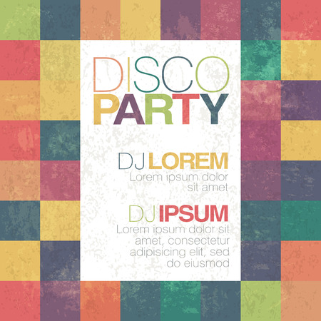 Disco poster or flyer design vintage template on colorful square background