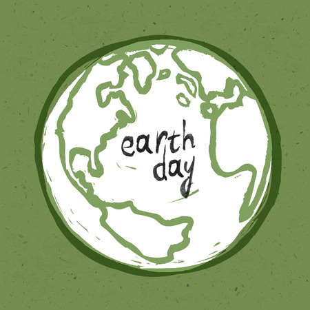 Earth day poster On recycled paper texture
