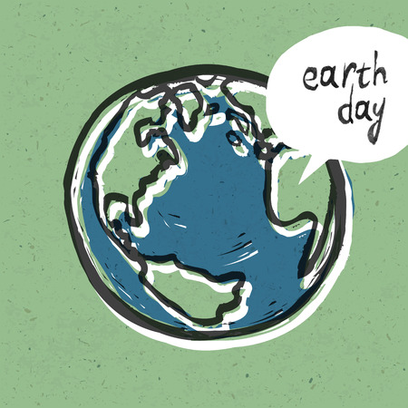 Earth day poster On recycled paper texture Vector