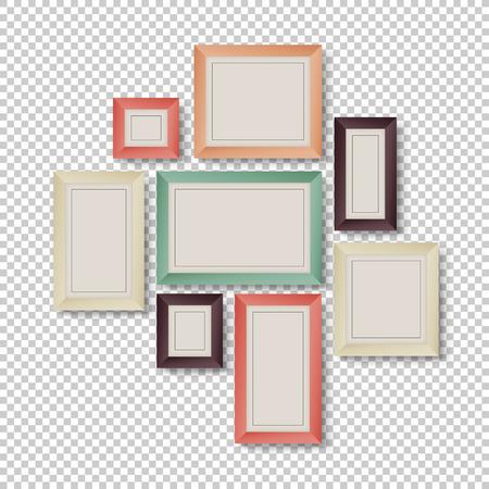流行に敏感な色で透明な背景上のフレームのグループ