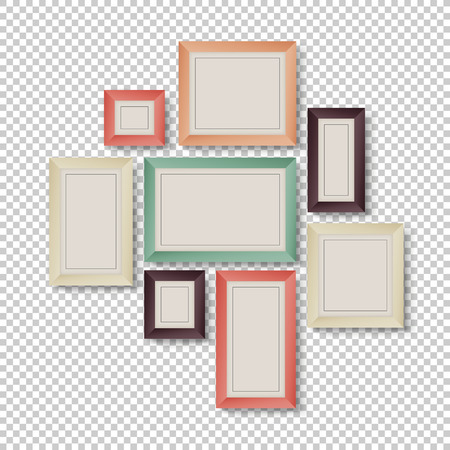 Group of Frames on Transparent Background in Hipster Colors Illustration