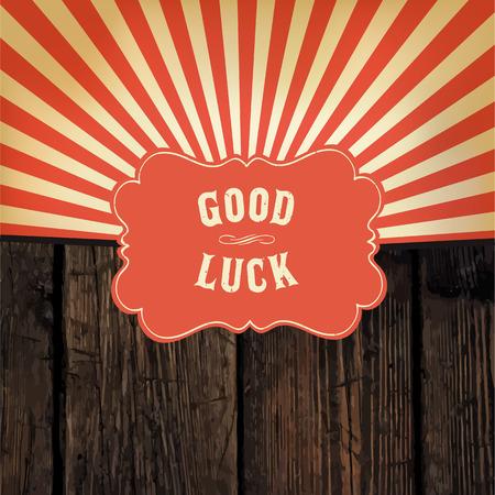 """Mensaje Salvaje Oeste de estilo """"buena suerte"""" en la tabla de madera con rayos fondo rojo"""