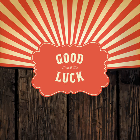 Wild west styled Good Luck message on wooden board With red rays background Ilustração