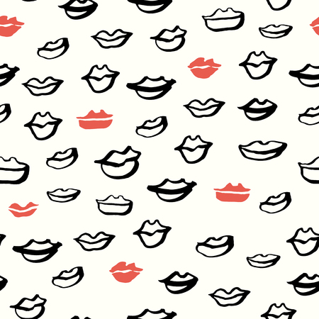 beso labios: Seamless Dibujado a mano Labios Patrón