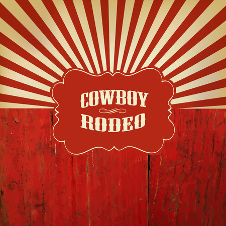 Wild West Rodeo Background On Red Wooden Fence Çizim