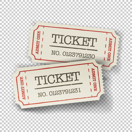 cinema ticket: Two cinema tickets (pair). Isolated on transparent background