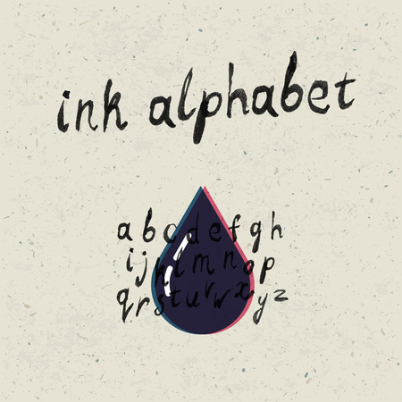 glob: Ink hand-drawn alphabet and paper texture set.