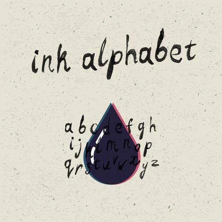 textura papel: Tinta mano dibujado alfabeto y la textura del papel set.