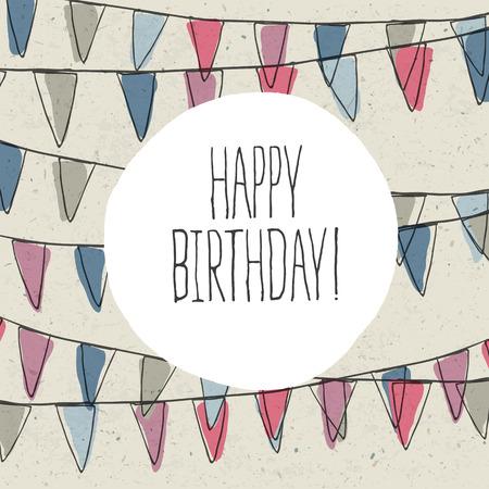 Happy Birthday Lettering On Holidays Pennant Bunting Illustration