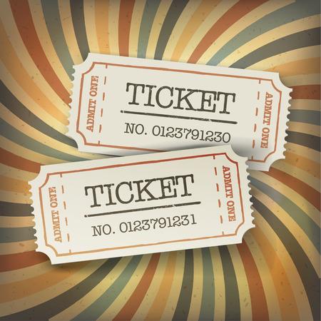 ticketing: Two cinema tickets. On retro sunburst background