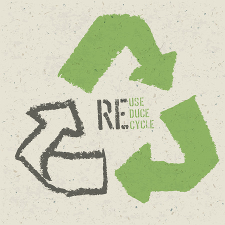 """reciclaje de papel: Reutilizar símbolo conceptual y """"Reciclar, Reducir, Reciclar"""" texto en la textura del papel reciclado"""