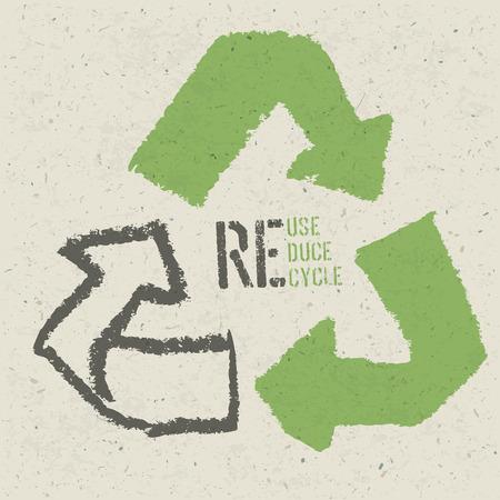 """raccolta differenziata: Riutilizzare simbolo concettuale e """"riutilizzo, ridurre, riciclare"""" il testo sul Grana carta riciclata Vettoriali"""