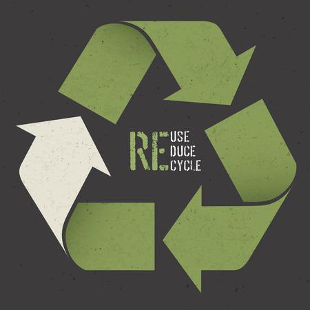 概念の記号および暗いリサイクル紙のテクスチャの「リユース、リデュース、リサイクル」テキストを再利用します。