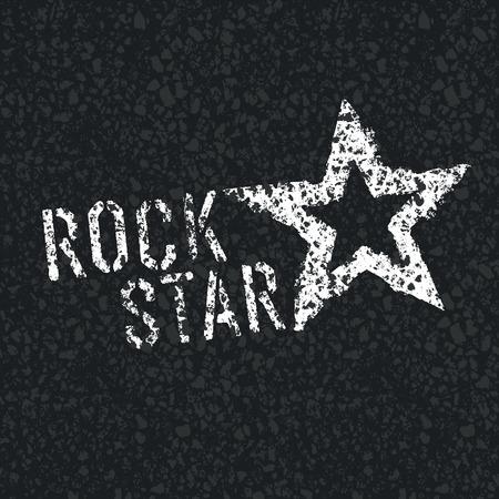 asphalt texture: Rock Star Symbol on Asphalt Texture