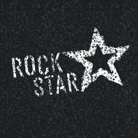 Rock Star symbool op asfalt textuur Stock Illustratie