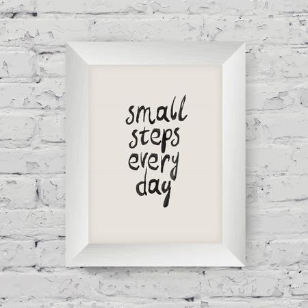 意欲を高めるポスター「小さな毎日の手順」のアートの木製フレームに白いレンガの壁