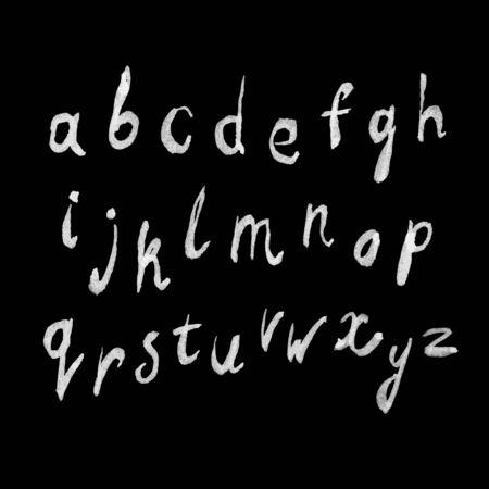 peinture blanche: Blanc peinture handdrawn alphabet sur le tableau noir
