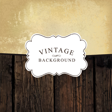farewell: Vintage styled design template. Aged wooden and old paper textures. Vintage white label