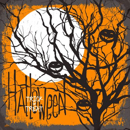 necrosis: Halloween vector illustration. Dry tree, full moon and pumpkins. Trick or treat