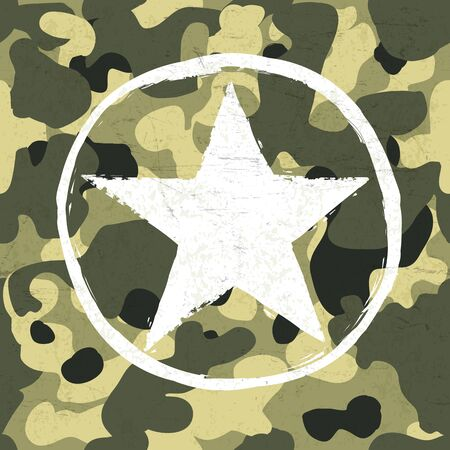 estrellas  de militares: Military star on camouflage pattern Vectores