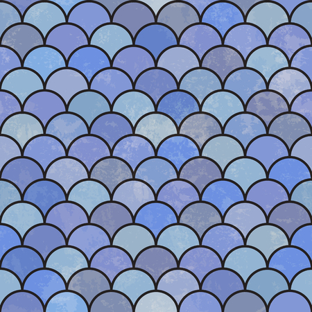 fish scale: Blue asian fish scale retro pattern. Grunge and seamless. Grunge effects can be easily removed.